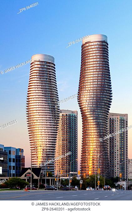 Absolute World Towers 4 & 5 (The Marilyn Monroe Towers) at sunset. Mississauga, Peel Region, Ontario, Canada