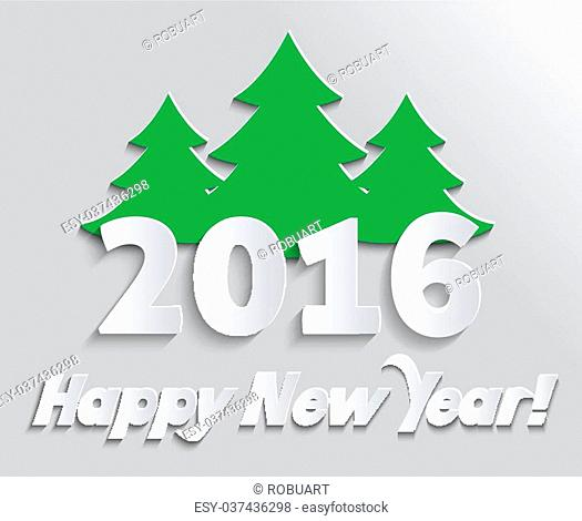 Happy new year 2016 banner with tree. Greeting celebration, holiday annual winter, decor poster, decoration congratulation, postcard event illustration