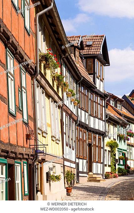 Germany, Saxony-Anhalt, Quedlinburg, Timber-framed houses