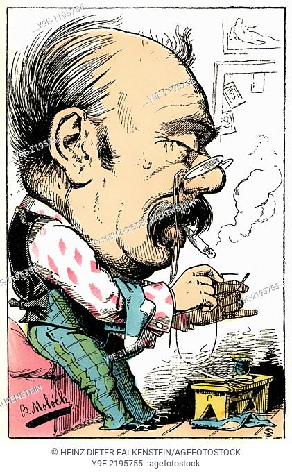 An unmarried man, personified as Julius-Gabriel Celibataire, caricature, 1882, by Alphonse Hector Colomb pseudonym B. Moloch, 1849-1909, a French caricaturist