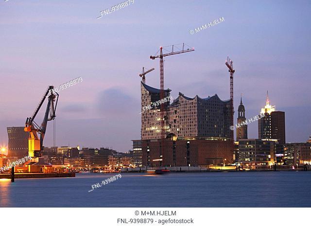 Elbphilharmonie in Hamburg at dusk, Germany