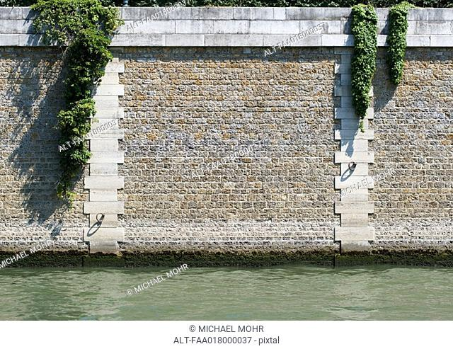 Paris, France, Ile de le cite, close-up of island wall