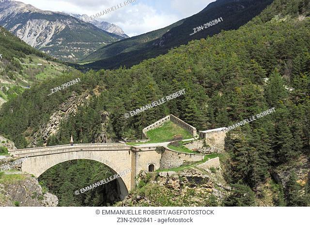 Asfeld Bridge, Fort des 3 têtes, Vauban building, Briançon, Hautes Alpes,Frenc Alps, Provence Alpes Côte d'Azur, France, Europe