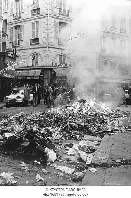 Aftermath of rioting, Latin Quarter, Paris, May 1968. Widespread protests and riots by students opposed to the policies of the government of President De Gaulle...