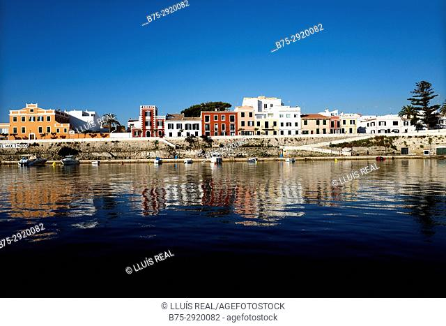 View of Es Castell (Villa Carlos) from the sea in the early morning, Minorca, Balearic Islands, Spain