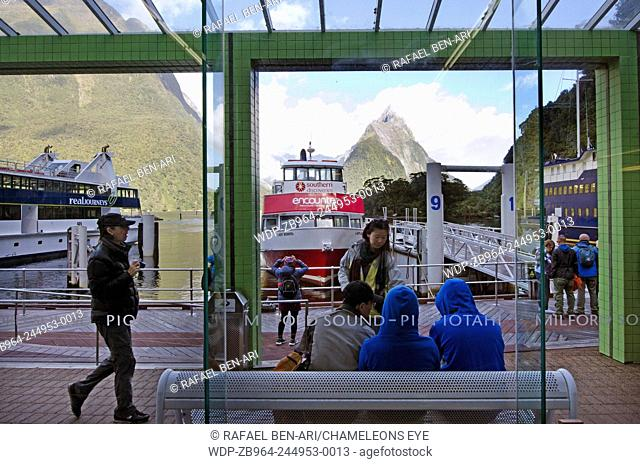 MILFORD SOUND,NZ - JAN 14:Milford Sound boat departure launch Terminal on Jan 14 2014.Milford It's New Zealand's most famous tourist destination