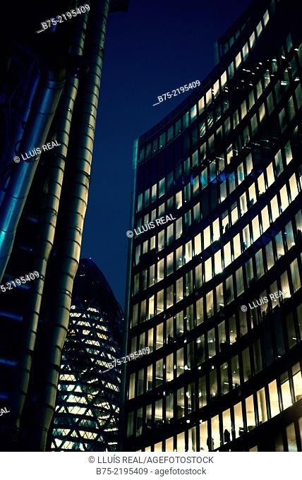Night view of Lloyds Bank, The Gerking and Willis building with illuminated windows in the City of London, England, UK
