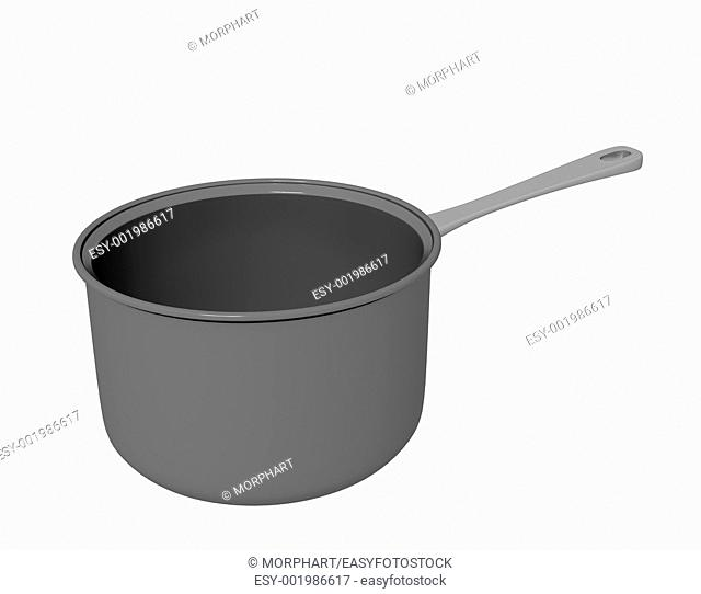 Black teflon coated or cast iron cooking pot, 3D illustration, isolated against a white background