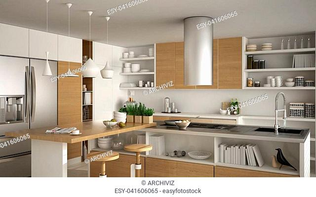 Modern wooden kitchen with wooden details, close up, island with stools, white minimalistic interior design