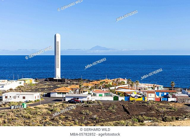 La Salemera and lighthouse, in the background Tenerife, La Palma, Canary Islands, Spain, Europe