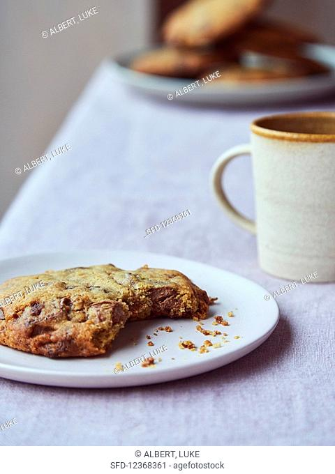 Chocolate chip cookie, baked, and coffee