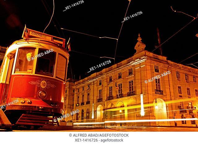 tram, Commerce Square, Lisbon, Portugal