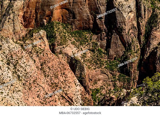 The USA, Utah, Washington county, Springdale, Zion National Park, Zion canyon, observation Point Trail, view from observation Point