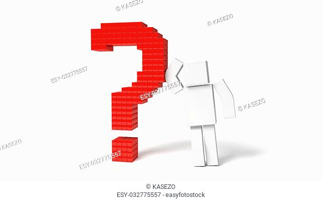 simple 3d cubic character and red question mark. isolated on white