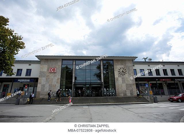 Railway station in Bahnhofstrasse, Rosenheim, Bavaria, Germany