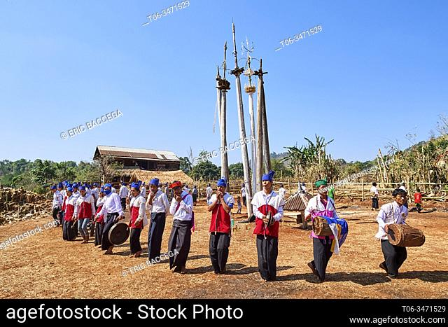 The Kay Htein Bo or spirit poles are found in most Kayan villages. These sacred poles are worshipped once a year, in April
