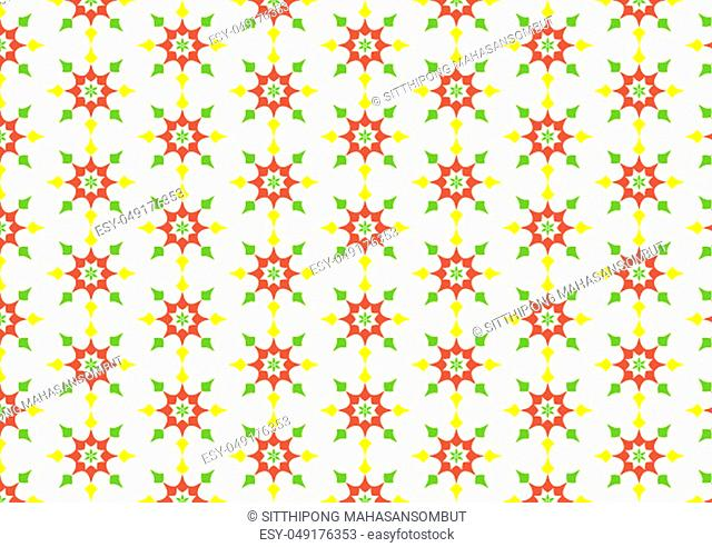 Vintage blossom and abstract arrow shape or star pattern on light yellow background. Classic and sweet star seamless pattern style for love and cute design