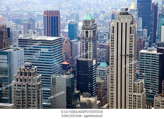cityscape, view from rockefeller center, top on the rock, skyscrapers, Manhattan, New York, Usa, America