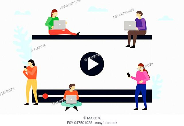Videoblogs. Watching a video via internet. People using mobile gadgets, for live watching a video via internet. Vector illustration