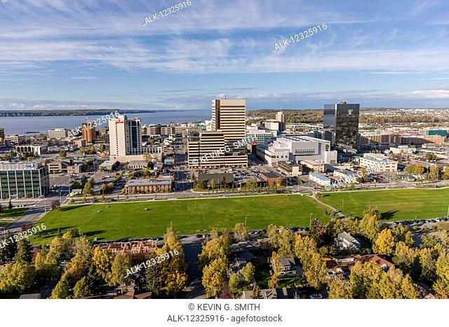 Aerial view of downtown Anchorage, Delaney Park Strip and the Cook Inlet in autumn, Southcentral Alaska, USA