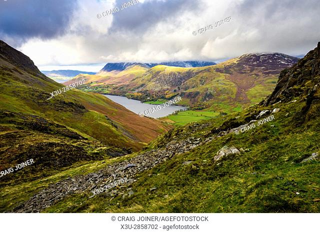 Buttermere lake from Scarth Gap Pass in the Lake District National Park, Cumbria, England
