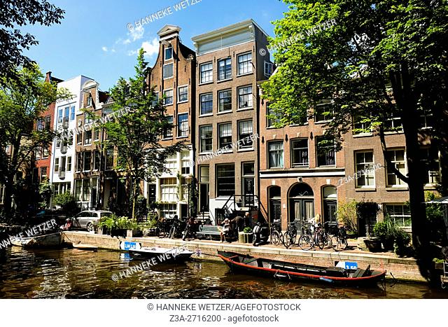 Traditional architecture of the Prinsengracht in Amsterdam, the Netherlands, Europe