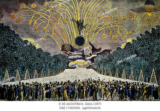 Fireworks in the Garden of Palais de Chaillot, celebration of the 9th anniversary of the French Republic, July 14, 1801, engraving