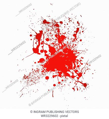 Inky blood splat with a red abstract shape