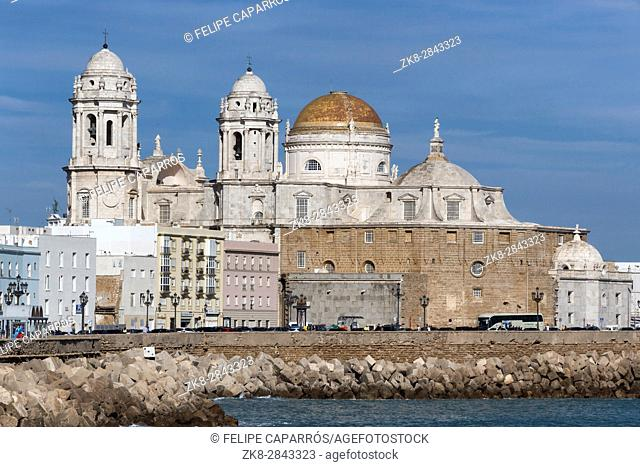 Cadiz, Spain - March 31: Panoramic view of the city on March, bordered by the Mediterranean sea and its Cathedral, called Catedral Nueva by locals