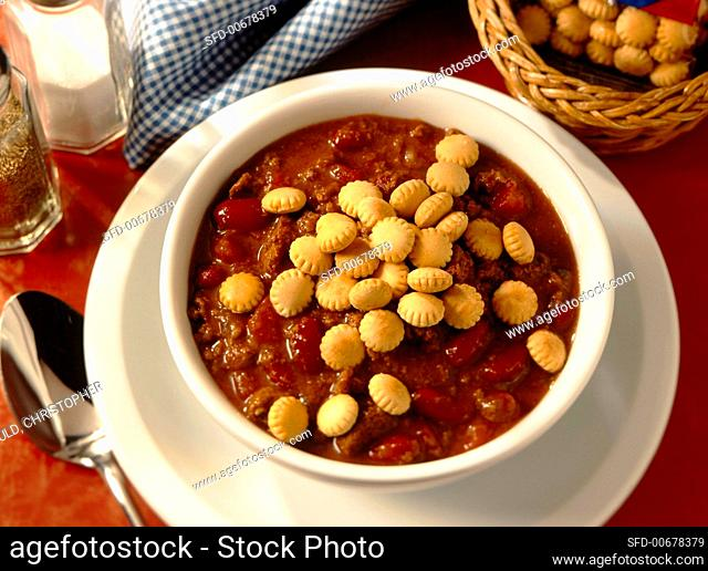Bowl of Chili Topped with Oyster Crackers