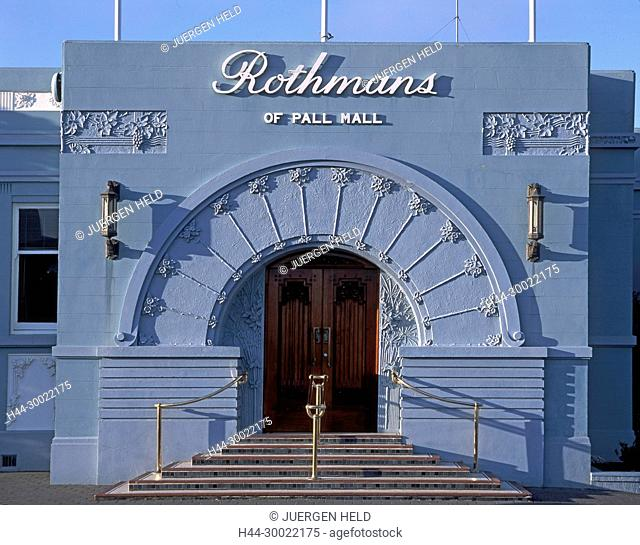 Neuseeland, Suedinsel, Napier, Art Deco Fassade, Rothmans Tabakfabrik   new zealand South island, Napier, art deco building, Rothmans of Pall Mall, entrance