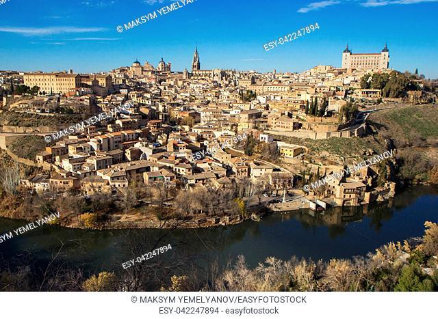 Toledo, Spain. Aerial view of medieval city Toledo in december.
