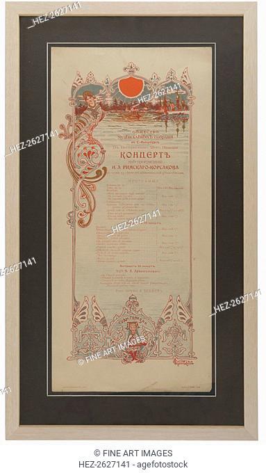 Nikolai Rimsky-Korsakov's Concert programme to celebrate of the 35th work anniversary, 1901. Artist: Anonymous