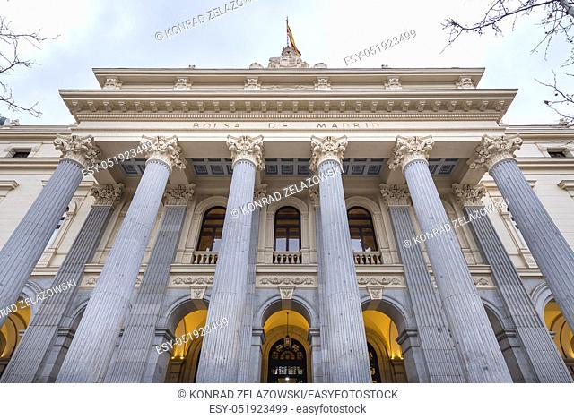 Bolsa de Madrid - Madrid Stock Exchange on Plaza de la Lealtad in Madrid, Spain