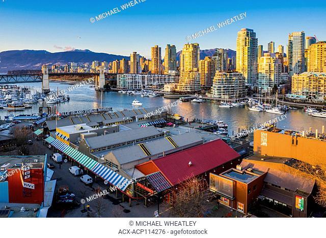Granville Island Public Market and West End, False Creek skyline, Vancouver, British Columbia, Canada