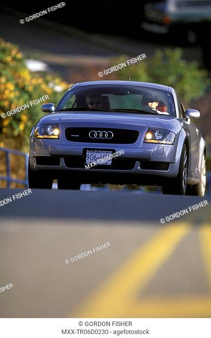 Car on curve, White Rock, British Columbia, Canada
