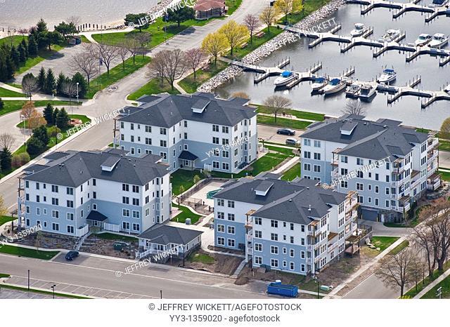Aerial view of new condominiums in Ludington, Michigan, USA