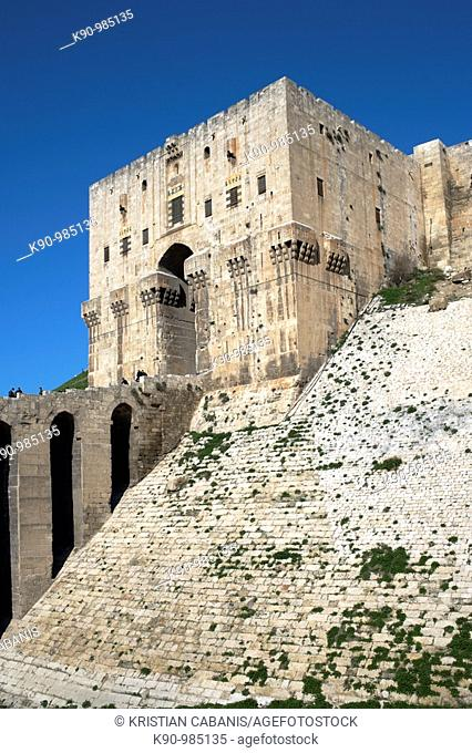 The massive entrance building of the Citadelle of Aleppo at a sunny day with blue sky, Aleppo, Syria, Near East, Asia