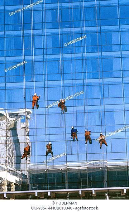Window Cleaners on Skyscraper, Cape Town, South Africa