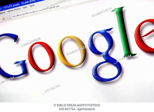 Google trademark in a monitor screen