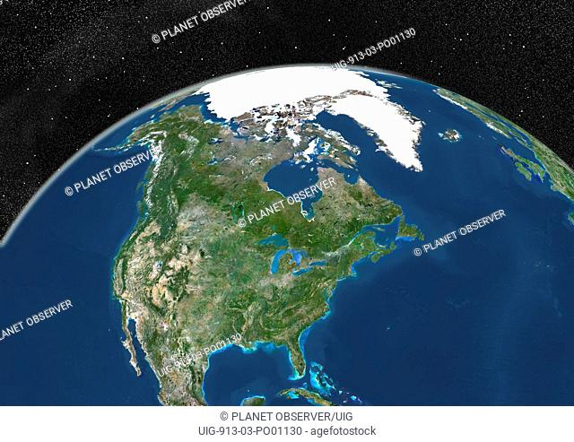 Globe Showing Northern America, True Colour Satellite Image. True colour satellite image of the Earth showing Greenland, the North Pole and Northern America