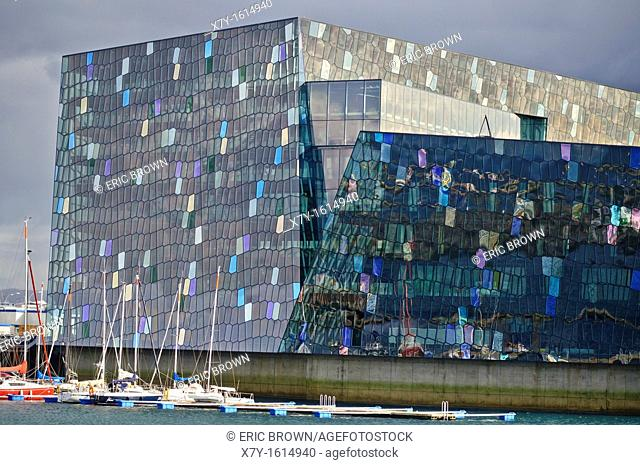 A view of Harpa, the Icelandic concert hall  Reykjavik, Iceland