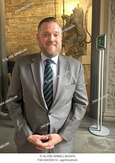 Jeff Porter, who works as head wine conoisseur for the restaurant owner and television star Joe Bastianich, stands in the Palazzo Vecchio in Florence, Italy