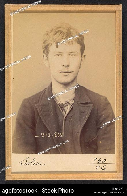 Solier. Auguste. 18 ans, né le 3/3/75 à Cemery-la-Ville. Dessinateur. Anarchiste. 12/1/94. Artist: Alphonse Bertillon (French