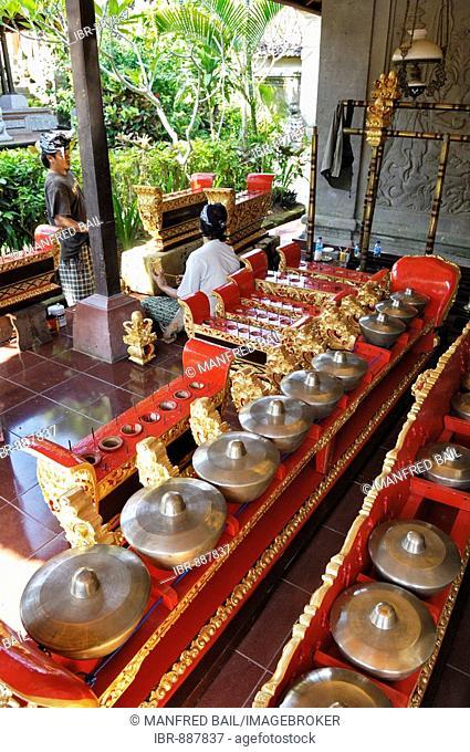 Gamelan musical ensemble instruments being restored at Puri Saren Palace, Ubud, Bali, Indonesia