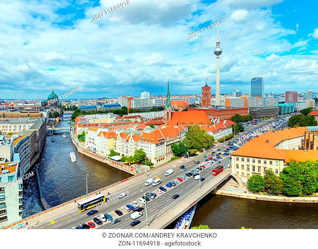 BERLIN - AUGUST 21: Aerial cityscape overview on August 21, 2017 in Berlin, Germany