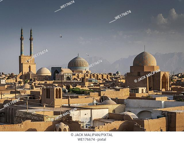 rooftops downtown mosque and landscape view of yazd city old town in iran