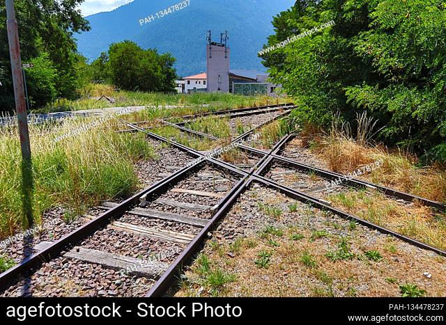 Suedtirol, Italy July 2020: Impressions of Suedtirol July 2020 Mals, Vinschgau, train station, crossing of rails, Suedtirol | usage worldwide