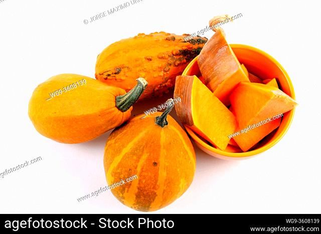 Pumpkins with white background view from above