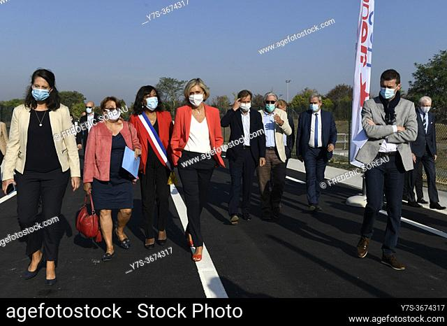 Inauguration of the new departmental road in Sartrouville and Montesson with Valerie Pecresse, president of the Regional Council of ile-de-France and Pierre...